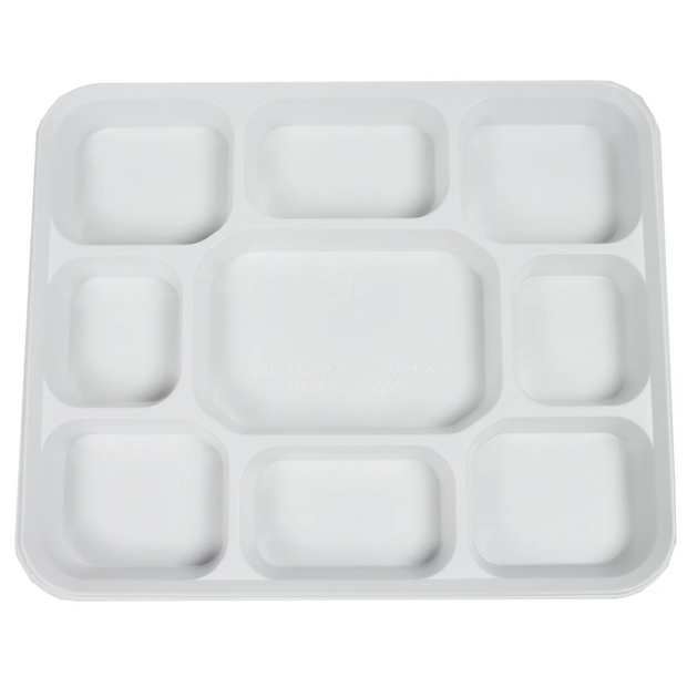 White Plastic Plates 9 Compartment (25 Pack)