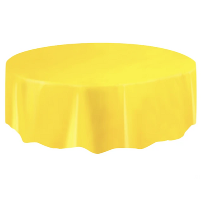 Yellow Round Plastic Table Cover 2.1m