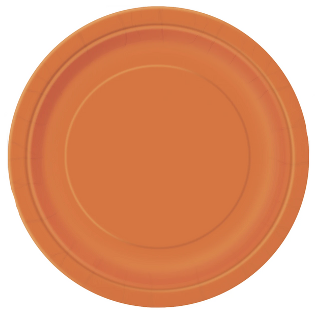 Orange Paper Plates 23cm (8 Pack)