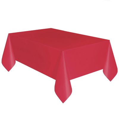 Red Plastic Table Cover 1.37m x 2.74m