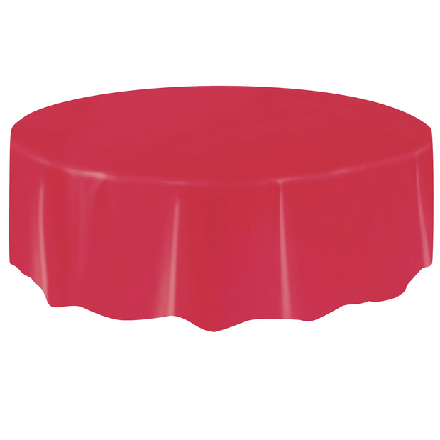 Red Round Plastic Table Cover 2.1m