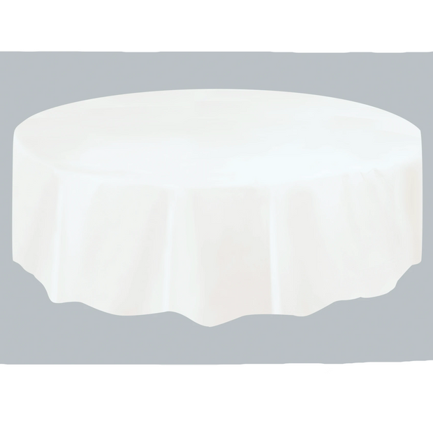 White Round Plastic Table Cover 2.1m
