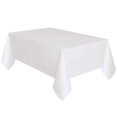 White Plastic Table Cover 1.37m x 2.74m
