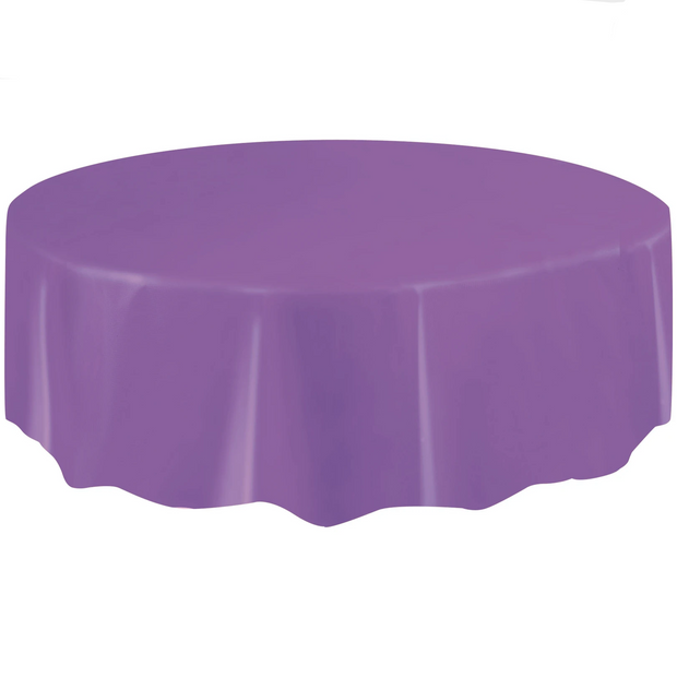 Purple Round Plastic Table Cover 2.1m