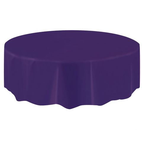 Deep Purple Round Plastic Table Cover 2.1m
