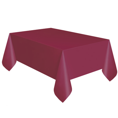 Burgundy Plastic Table Cover 1.37m x 2.74m