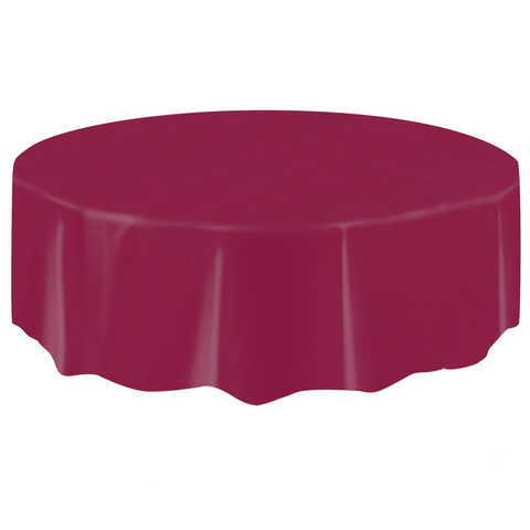 Burgundy Round Plastic Table Cover 2.1m