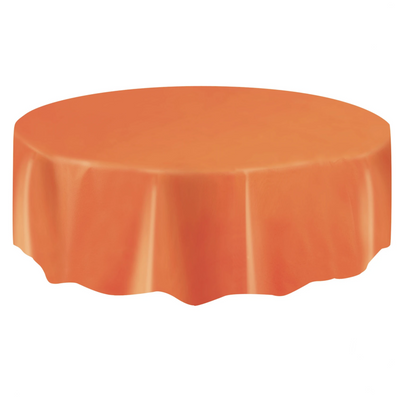 Orange Round Plastic Table Cover 2.1m