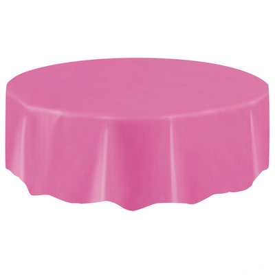Hot Pink Round Plastic Table Cover 2.1m