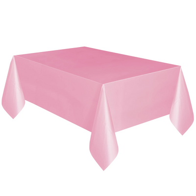 Baby Pink Plastic Table Cover 1.37m x 2.74m