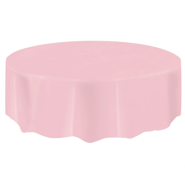 Baby Pink Round Plastic Table Cover 2.1m