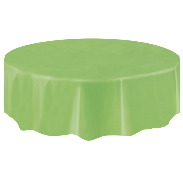 Lime Green Round Plastic Table Cover 2.1m