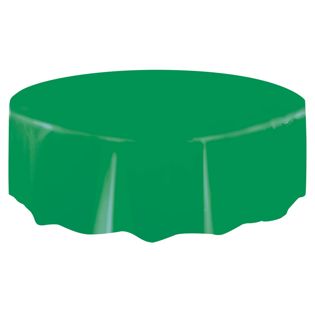 Emerald Green Round Plastic Table Cover 2.1m