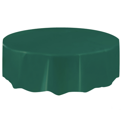 Forest Green Round Plastic Table Cover 2.1m