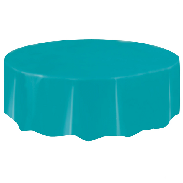 Teal Round Plastic Table Cover 2.1m