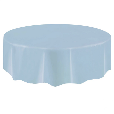 Baby Blue Round Plastic Table Cover 2.1m
