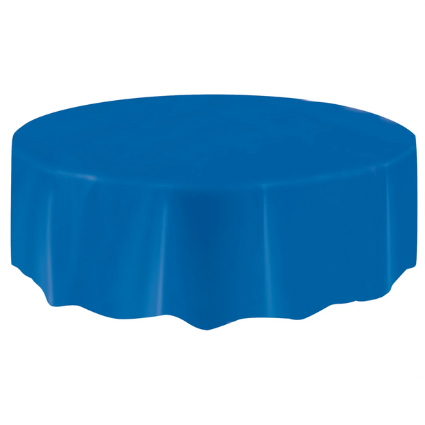 Royal Blue Round Plastic Table Cover 2.1m