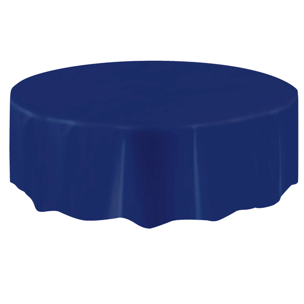 Navy Blue Round Plastic Table Cover 2.1m