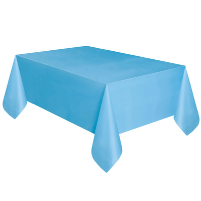 Baby Blue Plastic Table Cover 1.37m x 2.74m