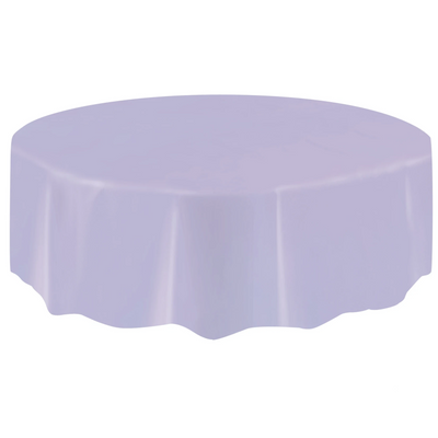 Lavender Round Plastic Table Cover 2.1m