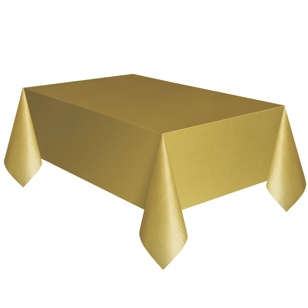 Gold Plastic Table Cover 1.37m x 2.74m