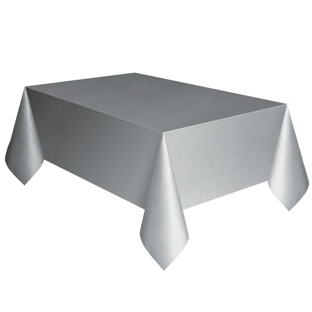 Silver Plastic Table Cover 1.37m x 2.74m