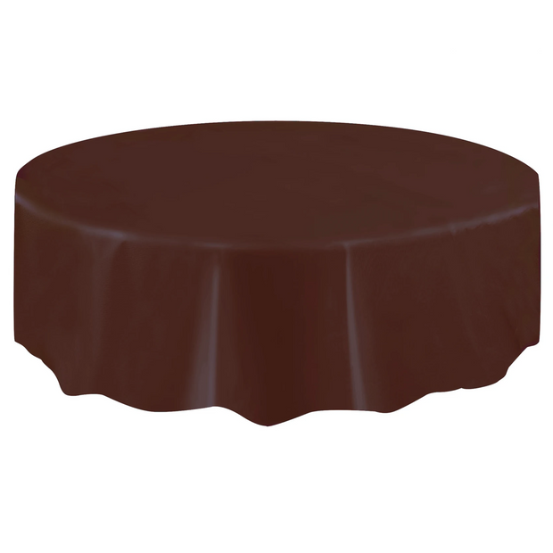 Brown Round Plastic Table Cover 2.1m