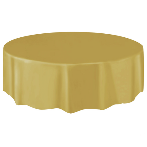 Gold Round Plastic Table Cover 2.1m