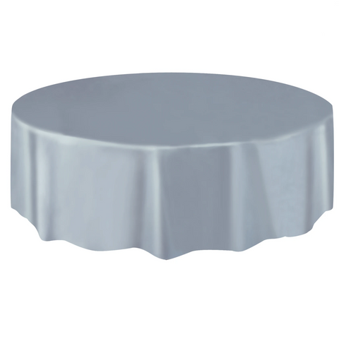 Silver Round Plastic Table Cover 2.1m