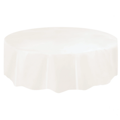 Ivory Round Plastic Table Cover 2.1m