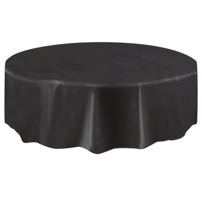 Black Round Plastic Table Cover 2.1m