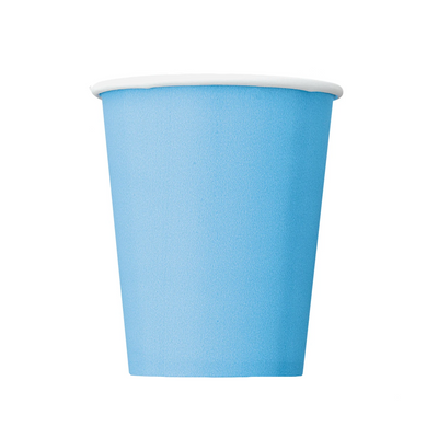 Baby Blue Paper Cups 270ml (14 Pack)