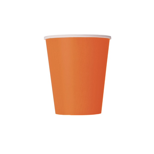 Orange Paper Cups 270ml (14 Pack)