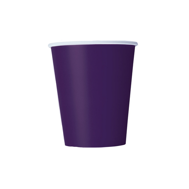 Deep Purple Paper Cups 270ml (8 Pack)