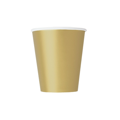 Gold Paper Cups 270ml (8 Pack)
