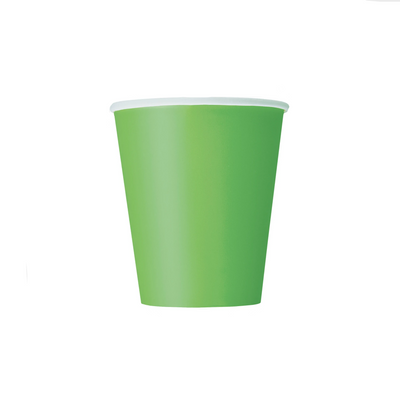 Lime Green Paper Cups 270ml (8 Pack)