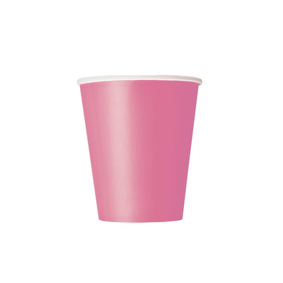 Hot Pink Paper Cups 270ml (14 Pack)