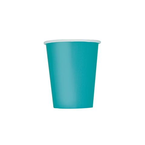 Teal Paper Cups 270ml (8 Pack)