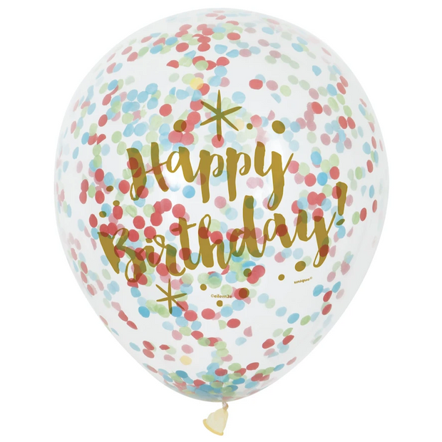 "Happy Birthday Multi Colour Confetti Balloons 12"" Latex (6 Pack)"