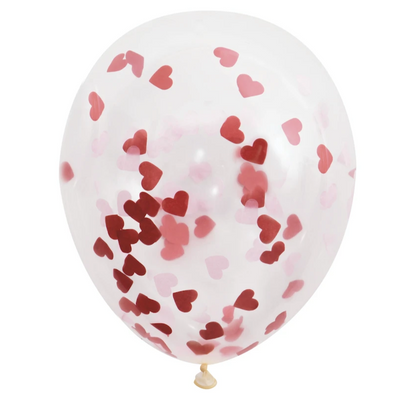 "Red HEART Confetti Balloons 16"" Latex (5 Pack)"