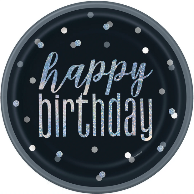 Happy Birthday Black & Silver Glitz Plates 23cm (8 Pack)