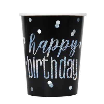 Happy Birthday Black & Silver Glitz Cups 9oz (8 Pack)