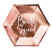 Rose Gold Bride Squad Paper Plates 23cm (6 Pack)