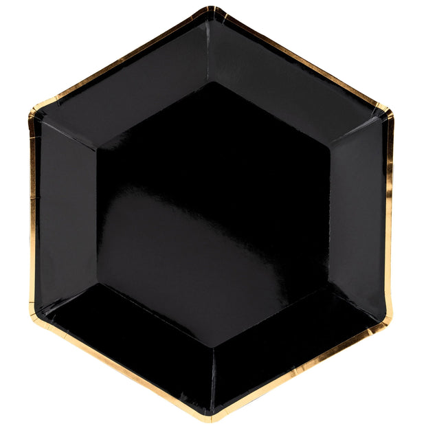 Black & Gold Plates 23cm (6 Pack)
