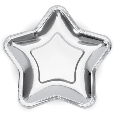 Metallic Silver Star Paper Plates 23cm (6 Pack)