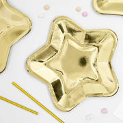 Metallic Gold Star Paper Plates 23cm (6 Pack)