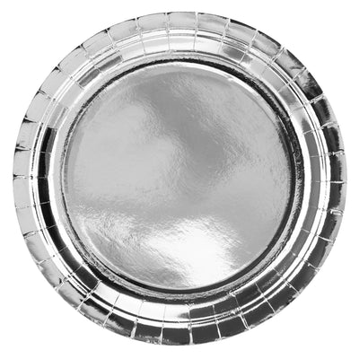 Metallic Silver Paper Plates 23cm (6 Pack)