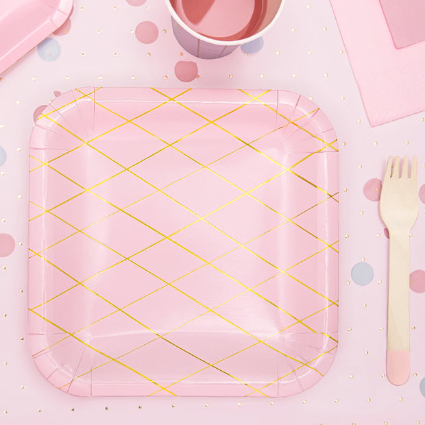 Pink & Gold Grid Pattern Plates 20cm (6 Pack)