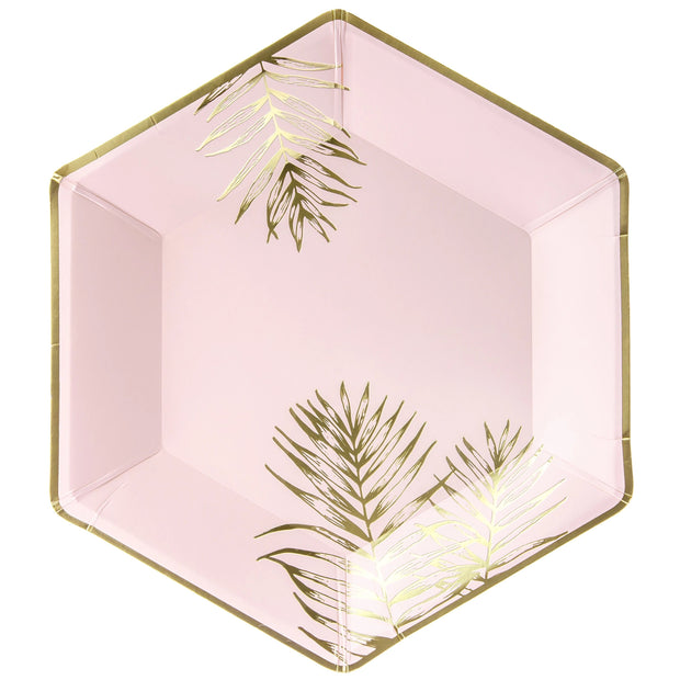 Pink & Gold Leaves Plates 23cm (6 Pack)