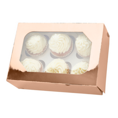 Metallic Rose Gold Cupcake Box With Window (Holds 6)